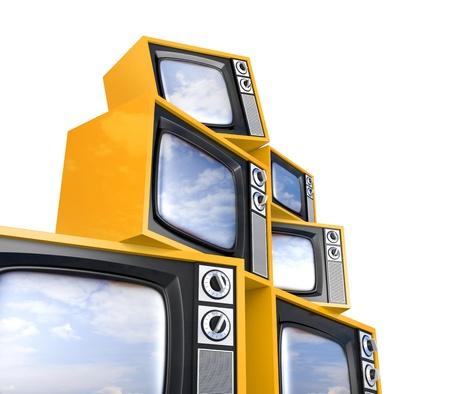 optical equipment: Heap of retro TV Stock Photo