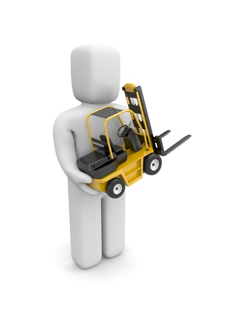 fork lifts trucks: Services concept  Isolated on white