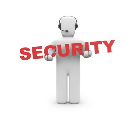 seguridad laboral: Concepto de seguridad aislado en blanco