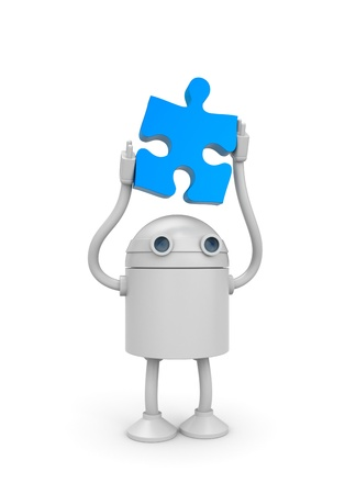 affability: Robot with puzzle Stock Photo