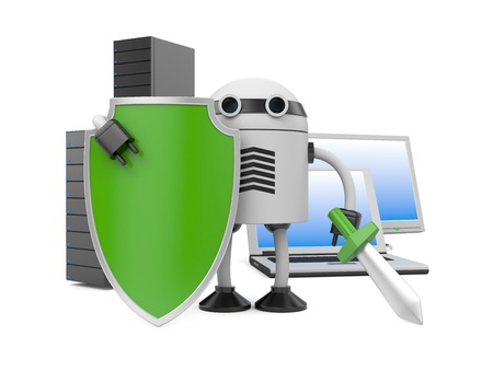 robot with shield: Image contain