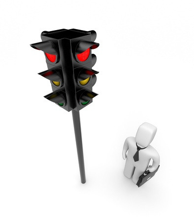 cross ties: Traffic light  and businessman Stock Photo