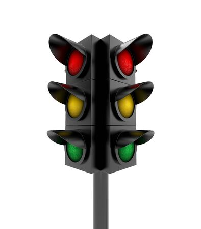 trafficlight: Traffic light isolated on white Stock Photo
