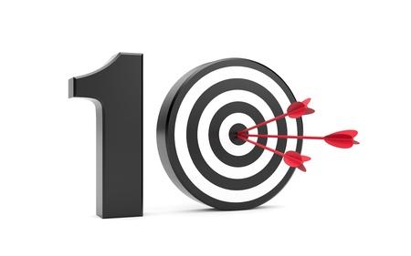 numero diez: Metáfora éxito aislado en blanco