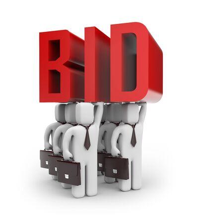 bid: Oferta concepto de negocios aislados en blanco