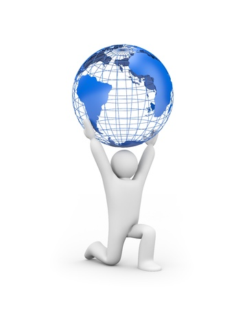 Person holding the world  Globalization or business concept photo