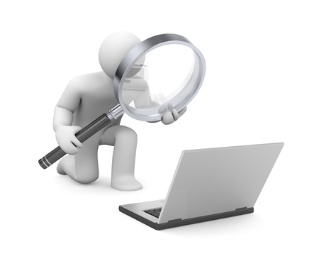 Person with magnify glass and notebook
