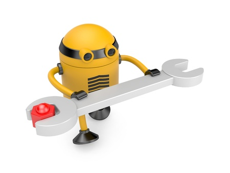 Robot with spanner  Image contain the clipping path Stock Photo - 17112298