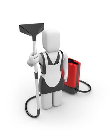 servicio domestico: Trabajador manual. Aislados en blanco