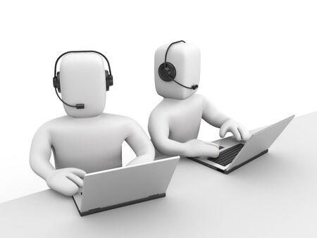 callcenter: Communication concept. Isolated on white Stock Photo