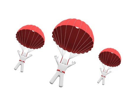 parachute: Conceptual image. Isolated on white Stock Photo