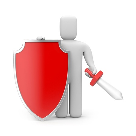 panoply: Security concept  Isolated on white Stock Photo