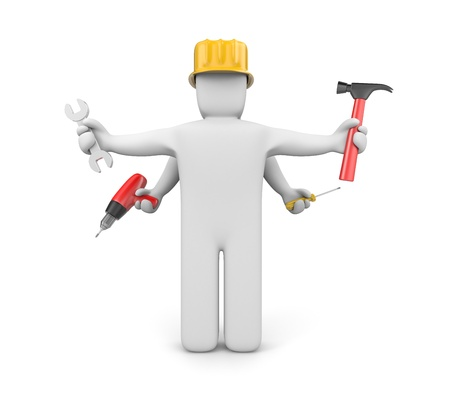 spanner: Manual workers concept. Isolated on white Stock Photo