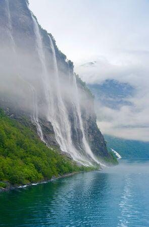 Mountain landscape  Travel in Norway  Geiranger photo