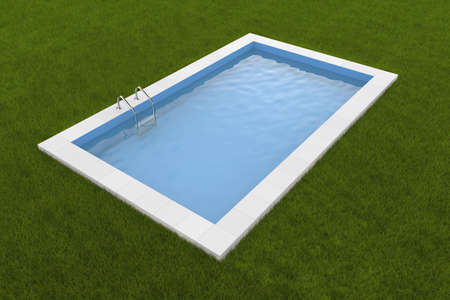 poolside: Pool on the grass  Photorealistic 3d render