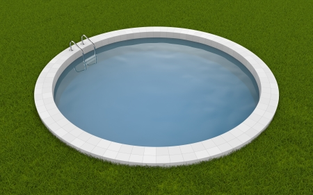 Pool on the grass  Photorealistic 3d render photo