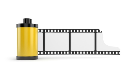 canister: Film roll isolated on white with reflection Stock Photo