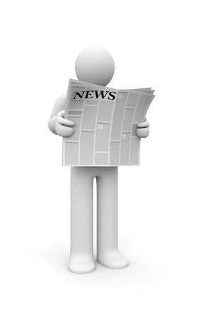 simbolo uomo donna: Concetto di notizie giornaliere Isolati su bianco Archivio Fotografico