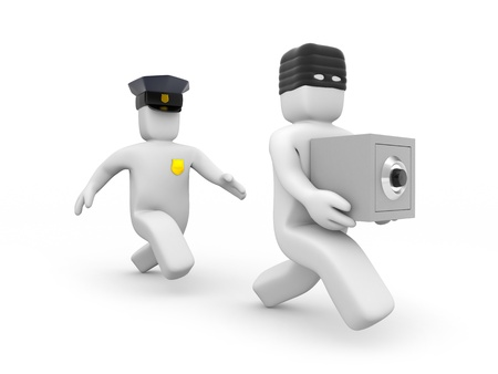 burglar man: Possibly catches up with the criminal, isolated on white Stock Photo