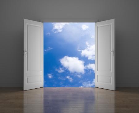 cielos abiertos: Puerta al cielo Oportunidad metáfora Foto de archivo