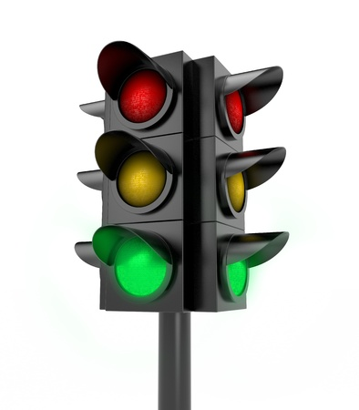 trafficlight: Green light on  Isolated on white