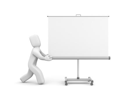 écran de projection de poussée personne ou un tableau blanc isolé sur blanc Banque d'images