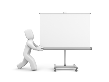 Person push projection screen or whiteboard  Isolated on white