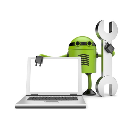 Robot avec le cahier-vous réparer l'ordinateur Banque d'images