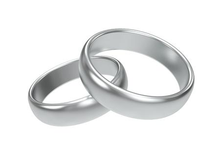 anillos de boda: Los anillos de bodas de plata sobre fondo blanco Foto de archivo