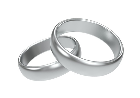 anillo de boda: Los anillos de bodas de plata sobre fondo blanco Foto de archivo