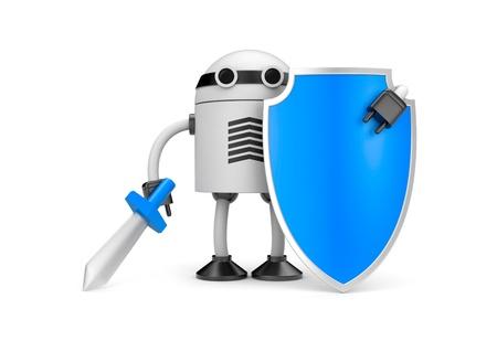 robot with shield: New technologies metaphor