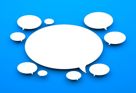 chat room: Communication concept  Isolated on blue Stock Photo