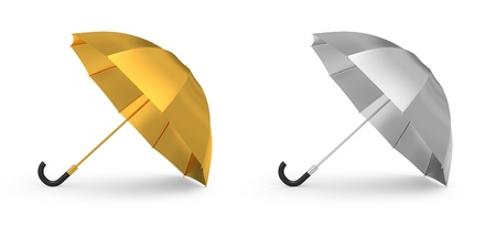 Gold and silver umbrella photo