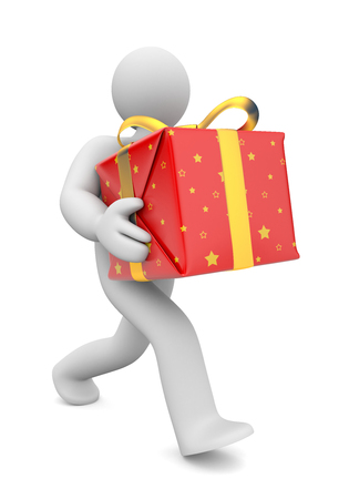 delivers: Person gives or delivers a gift.. Image contain clipping path