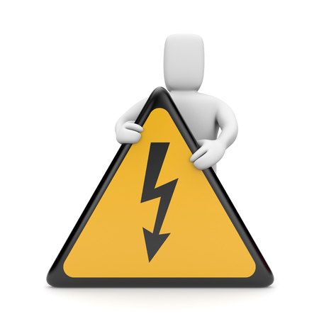 electroshock: Person with danger sign