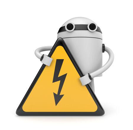 electroshock: Robot with danger sign