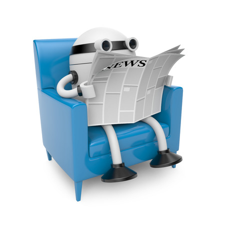 article of furniture: Robot read newspaper
