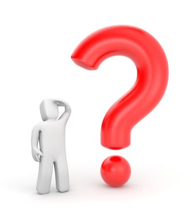 questionail: 3 � persona con la pregunta Foto de archivo