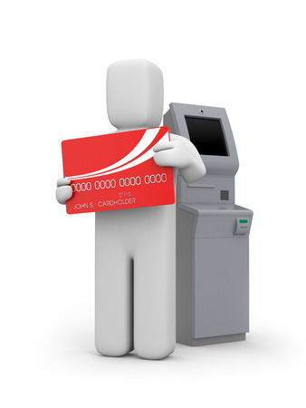 bancomat: Person with ATM