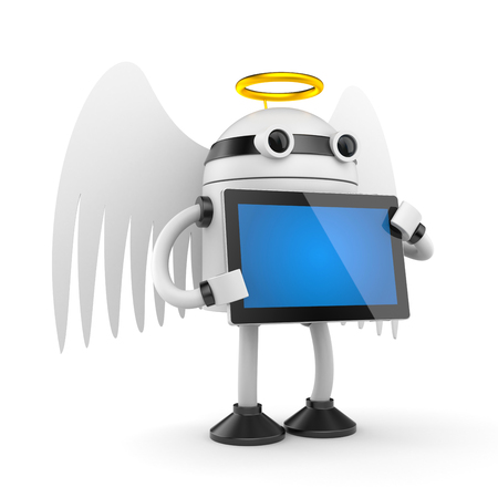 electronic book: Robot angel with pad Stock Photo