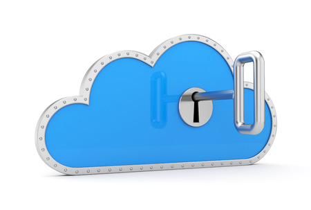 secure backup: Cloud and key  Secure metaphor  Stock Photo