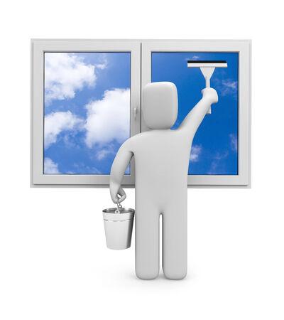 window cleaner: People at work metaphor