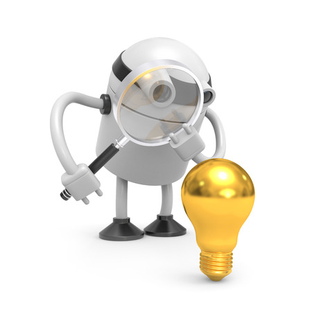 Robot with gold lightbulb photo