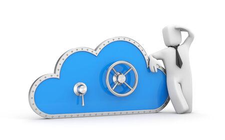protegido: Cloud y cerradura de seguridad met�fora Secure