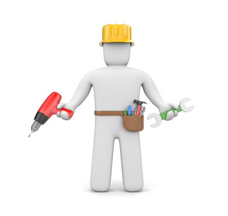 Manual worker  Isolated on white photo
