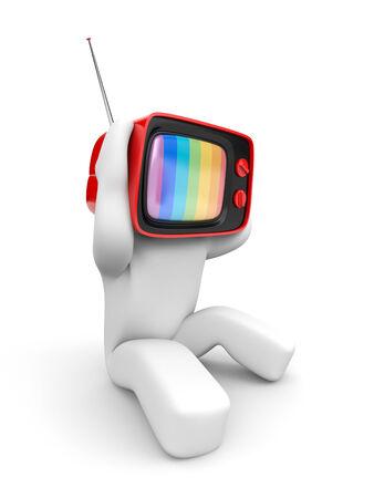 headaches: TV head with headaches
