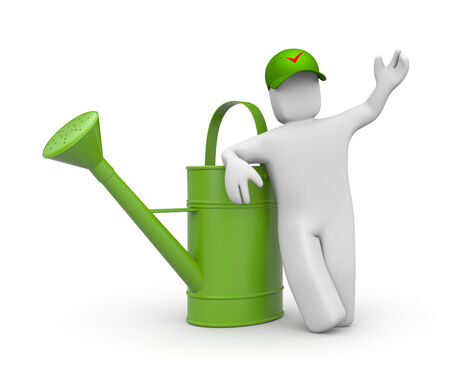 Worker with watering can Stock Photo - 26680855