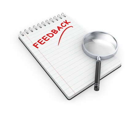 book reviews: Notepad with magnify glass  Feedback metaphor