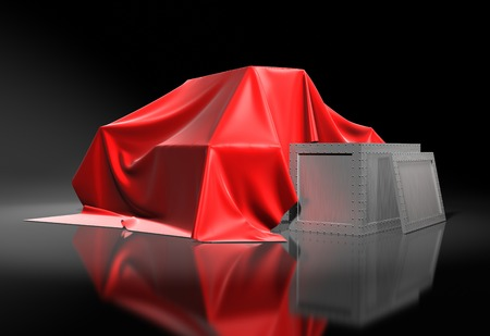 top secret: Boxes covered a red silk cloth  Background
