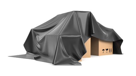 business cloth: Boxes covered a black silk cloth Stock Photo